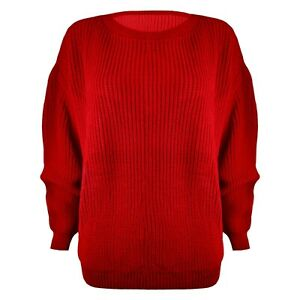 LADIES-WOMENS-CHUNKY-BASIC-KNITTED-CASUAL-COSY-BAGGY-WINTER-JUMPER-TOP-SIZE-S-XL