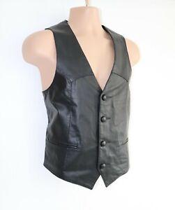 Men-039-s-Vintage-CONTINENTAL-Black-100-Leather-Waistcoat-Vest-40-Pit-To-Pit-20-5-034