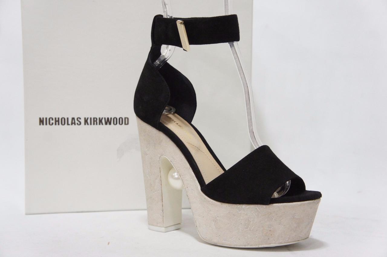 Nicholas Kirkwood Pearl-Detail Kork Plateau Absatz Sandalen Schuhe 36 6