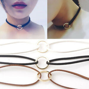 Charms-Minimalism-Circle-Ring-Leather-Chain-Choker-Necklace-For-Women-Party-Gift