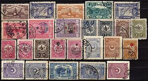 611-Turchia-Lotto-di-25-francobolli