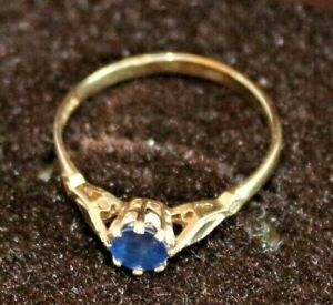 Gorgeous-9ct-Yellow-Gold-Solitaire-Sapphire-Ring-Size-K-L-Hallmarked-375-9-Carat