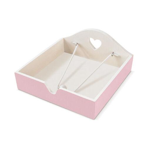 Pastel Pink Shabby Chic Wooden Napkin Holder Heart Cute Serviette Dispenser