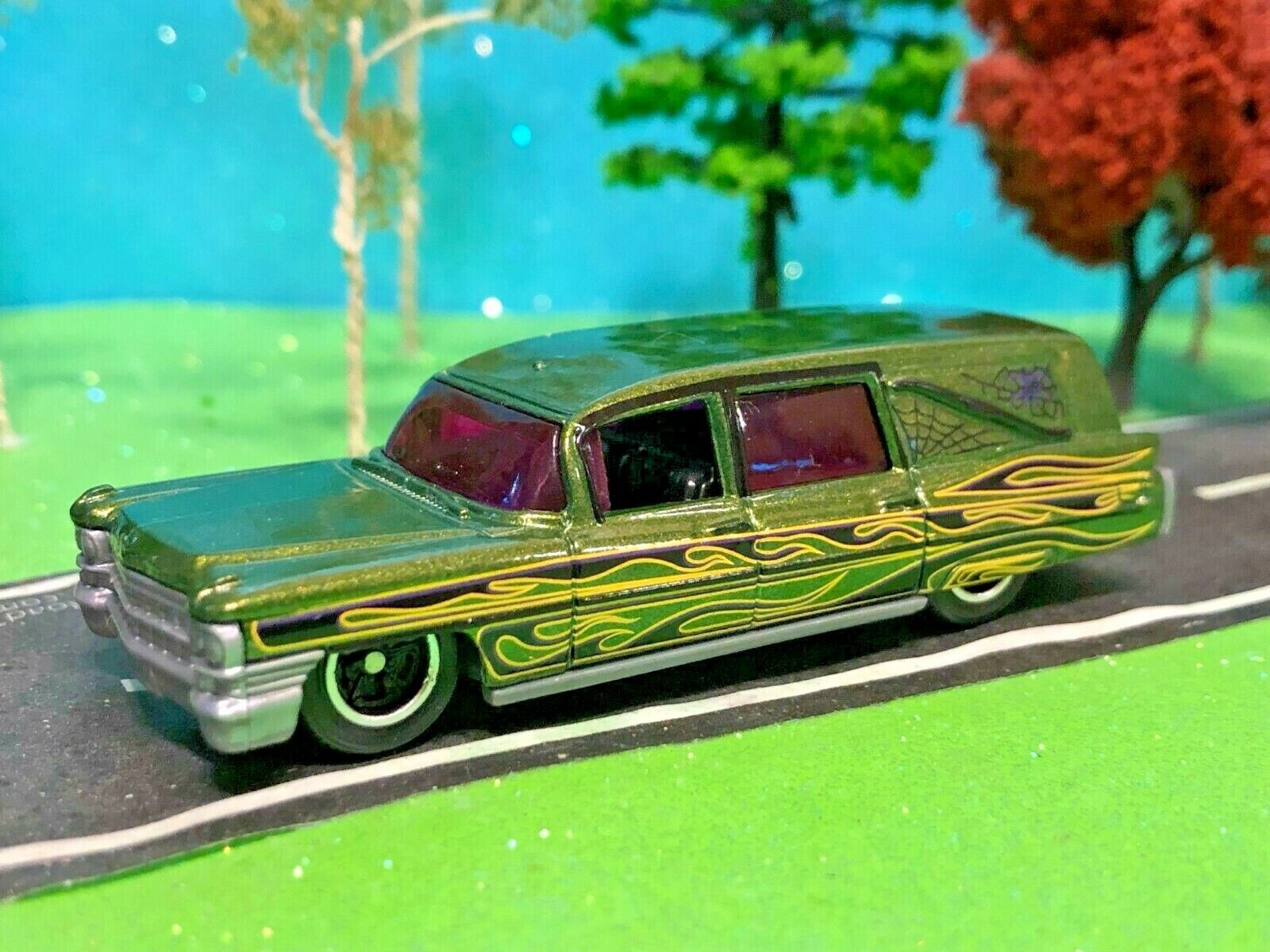 Hearse, funeral, graves, coche, Hermosa 1963 Cadillac, escala 1/64 Verde Coche de ataúd