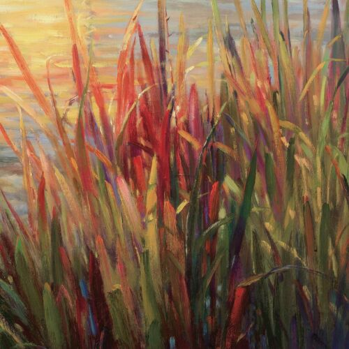 """POND RIVER GIVERNY SUMMER CANVAS 35W/""""x35H/"""" SUNSET MARSH by ROBERTO LOMBARDI"""