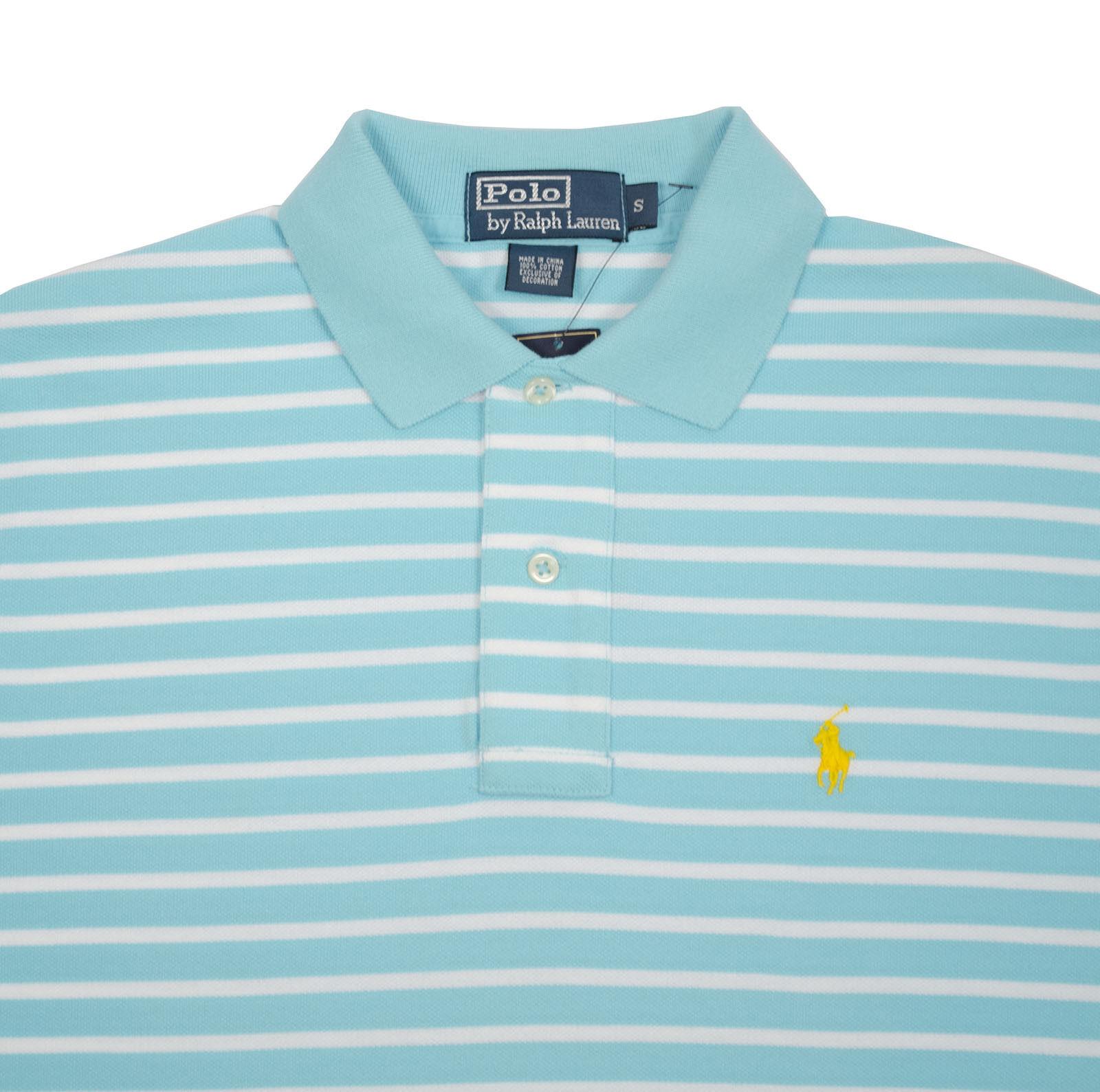 POLO RALPH LAUREN CLASSIC FIT MESH STRIPED MEN'S SHIRTS blueE SMALL SHIRT AS308