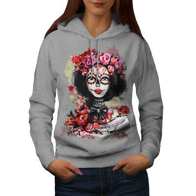 Einfach Wellcoda Rose Dead Skull Womens Hoodie, Flower Casual Hooded Sweatshirt Eine Hohe Bewunderung Gewinnen
