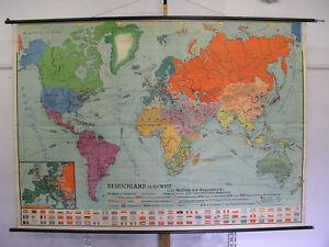 Carte Du Monde Allemagne.Details Sur Belle Ancienne Carte Du Monde Allemagne Dans La Voitures 235x165cm Vintage 1955