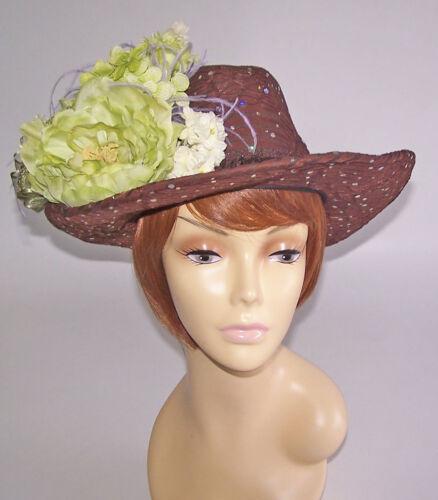 BROWN SPARKLING COWBOY HAT CREAM OSTRICH PLUME CHU