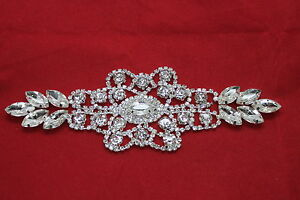 Silver-Rhinestone-Diamante-Sew-on-Motif-Crystal-Applique-Patch-Bridal-Wedding