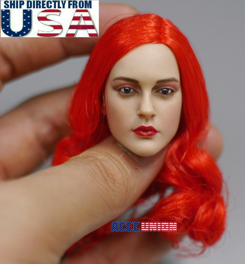 1 6 American Female Head Sculpt RED HAIR For 12  PHICEN Suntan Figure Doll USA
