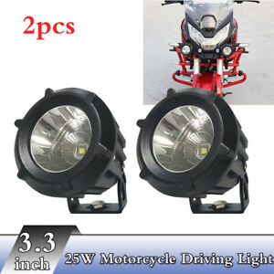 2x-3-3-034-25W-Led-Front-6000K-Combo-Beam-180-Rotate-Motorcycle-Driving-Light