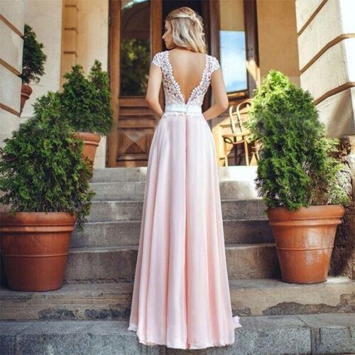 Women Lace Chiffon Bridesmaid Wedding Prom Gown Evening Party Long Maxi Dress