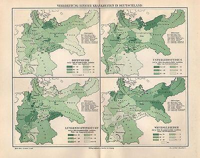 Unter Der Voraussetzung Krankheiten In Deutschland Karte Von 1895 Medizin Diphtherie Wechselfieber