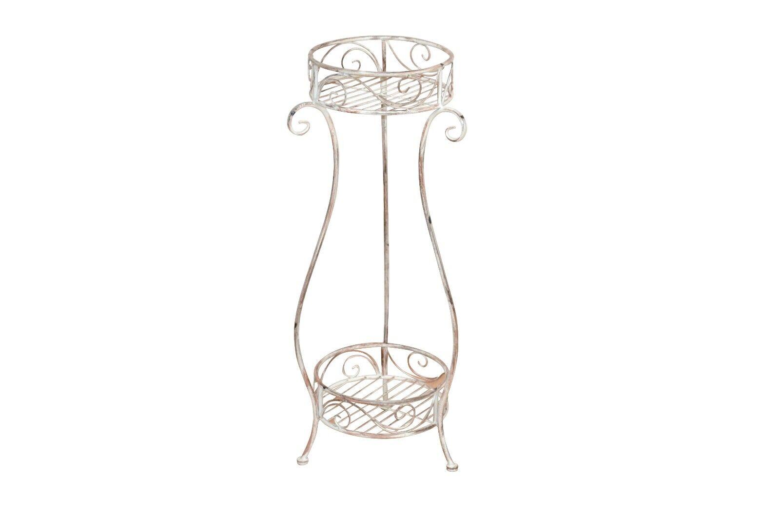 Design Beistelltisch Antik weiß Pflanzenständer Metall Blaumenständer modern neu