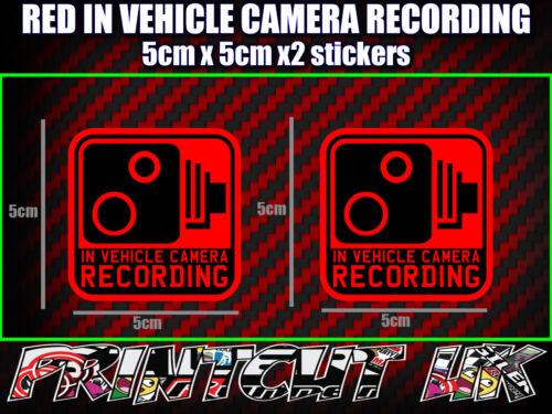 Registrazione della telecamera in veicolo Adesivi Decalcomanie x2 DASH DVR Auto Furgone Camion Autobus Moto R *
