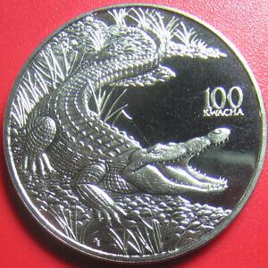 1998-ZAMBIA-100-KWACHA-CROCODILE-CROC-AFRICAN-WILDLIFE-CU-NI-38-6mm-no-silver