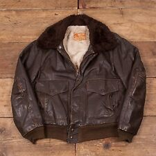 "Mens Vintage Excelled A-2 Brown Leather Sherpa Flight Jacket Medium 38""  R4410"