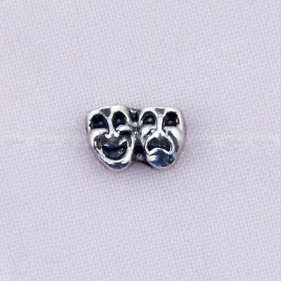 1 Pc Mini Silver Mask Floating Locket Charms  Alloy Mini Living Memory Lockets