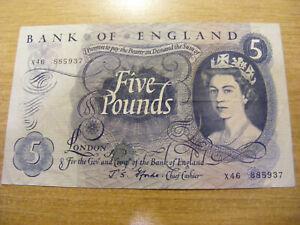 A Five Pounds Banknote J Fforde X46 885937, Used folds but still nice note