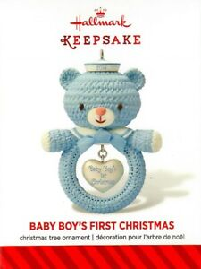 Hallmark-Baby-Boy-First-Christmas-Ornament-Blue-Bear-Shape-2014-Keepsake