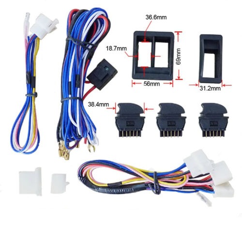 12V Car SUV Power Door Window Glass Lift Green LED Switch /& Wiring Harness Cable
