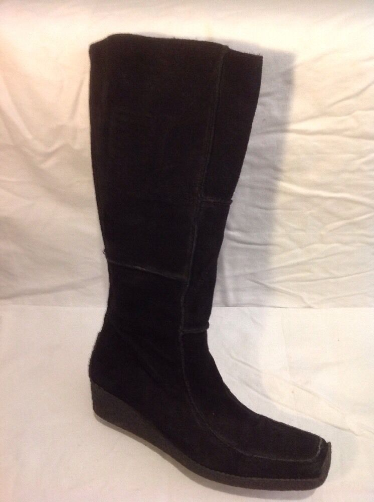Dune Black Knee High Suede Boots Size 40