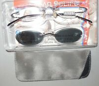 Solar E Clips Reading Glasses Clip On Magnetic Polarized Sunglasses Case +1.25