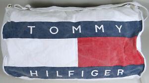 Tommy-Hilfiger-Duffle-Bag-Vintage-1980s-Canvas-Tote-Gym-Travel-Adjustable-Strap