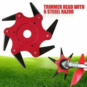 Outdoor-Trimmer-Head-6-Steel-Blades-Razors-65Mn-Lawn-Mower-Grass-Weed-Cutter-New