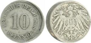 Empire 10 Pfennig 1898 A Lack Coinage: 10% Dezentriert VF