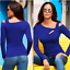 Women-Long-Sleeve-Cut-Out-Cold-Shoulder-Top-Ladies-Bodycon-Casual-T-Shirt-Blouse thumbnail 11