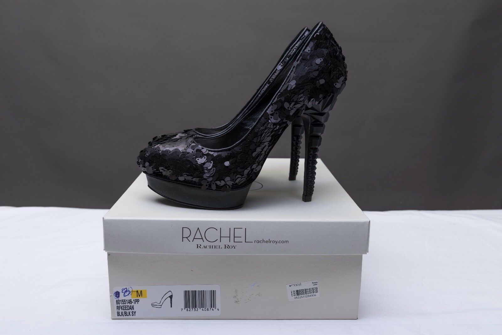 RACHEL ROY schwarz SEQUINED KEEDAN 3 HEEL HIGH HEEL 3 PUMPS Größe 8; New In Box 29f45a