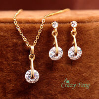 New 18k Gold Plated Women's Cubic Zircon Necklace Earrings Wedding Jewelry Sets