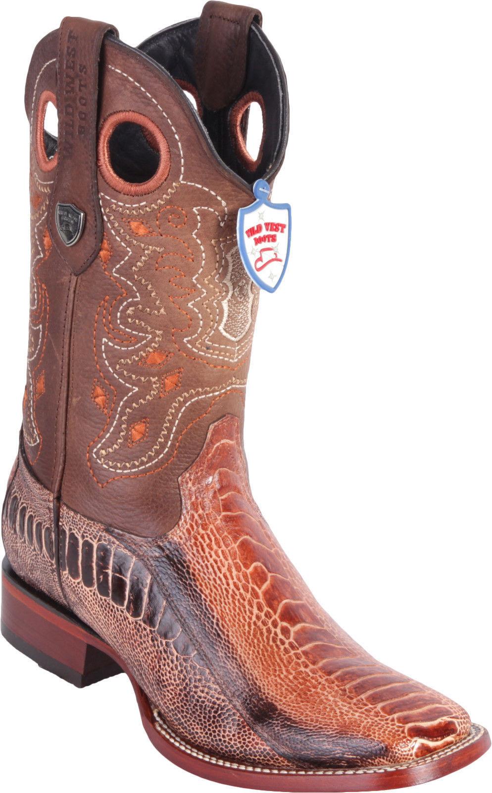 prezzo all'ingrosso e qualità affidabile WILD WEST COGNAC GENUINE GENUINE GENUINE OSTRICH LEG COWBOY avvio RANCH-WIDE SQUARE-TOE (D)  benvenuto a scegliere