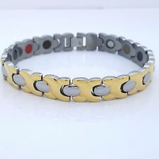 MEN'S LADIE'S STAINLESS STEEL 316 L BIO MAGNETIC BRACELET 5 in 1 GOLD/SILVER SG2