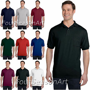 80cc132e Hanes Mens Jersey Sport Polo Shirt with Pocket Tee S M L XL 2XL 3XL ...