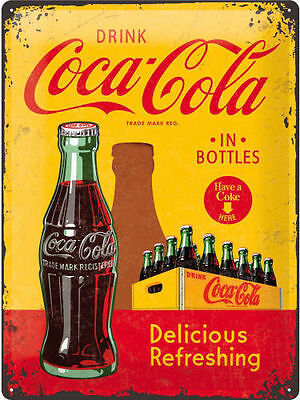 Coca Cola, Drink Coke Classic Glass Bottle Retro, Large 3D Metal Embossed Sign