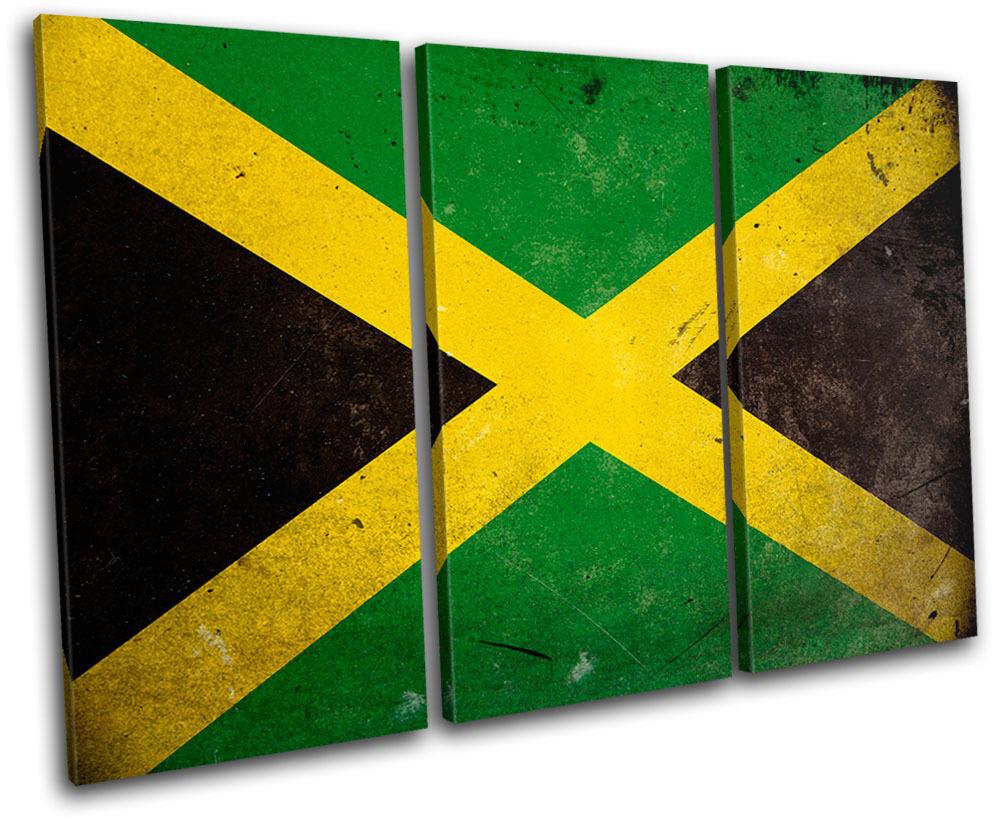 Abstract Jamaican Maps Flags TREBLE Leinwand Wand Kunst Bild drucken