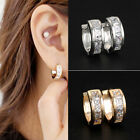 2Pcs Women Men's Stainless Steel Rhinestone Crystal Huggie Hoop Studs Earrings