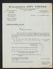 "BEAUCOURT (90) Service QUINCAILLERIE BOULONNERIE ""Ets. JAPY Freres"" Tarifs 1936"