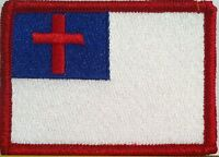 Christian Flag Military Patch With Velcro® Brand Fastener Red Border 10