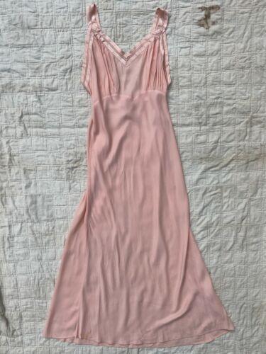 1940s 40s Pink Rayon Slip Dress