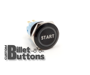 START Laser Etched Billet Push Buttons 12V LED Car Motorcycle Racing