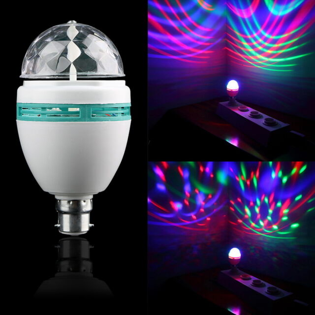 B22 3W RGB Crystal Ball Stage Light RGB LED Rotating Lamp Party Disco DJ KQ