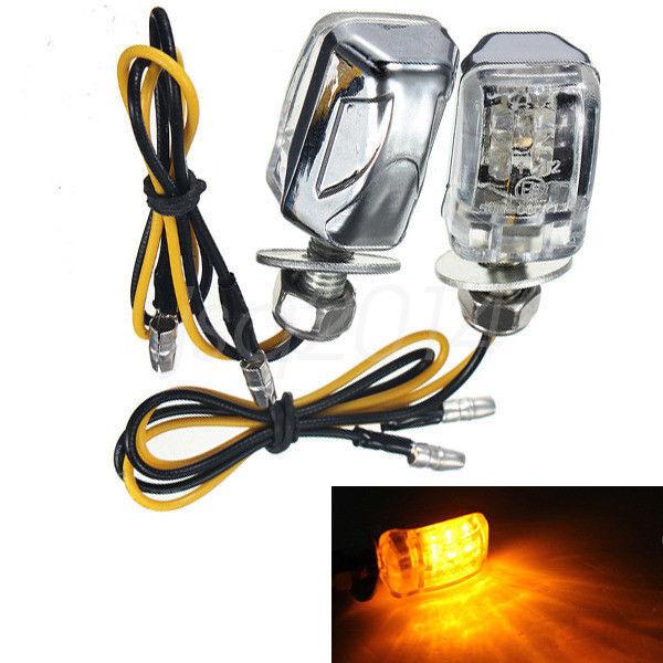 2X 6LED Motorcycle Mini Amber Turn Signal Lights Blinker Indicator Black FO