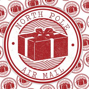 35 Noël Autocollants Étiquettes Pôle Nord air mail non personnalisé Festive