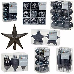 Details About Black Collection Christmas Decorations Baubles Stars Cones Hearts Tree Topper