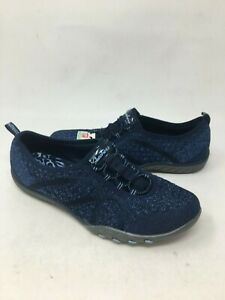 Details about NEW! Skechers Women's BREATHE EASY FORTUNE KNIT Navy Slip On #23028 G11B m