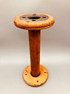 Vintage-Antique-Wooden-Wood-Large-Industrial-Textile-Spool-Bobbin-11-5-034